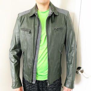 Gazzarrini Italy Gray Leather Zip Jacket 50 S